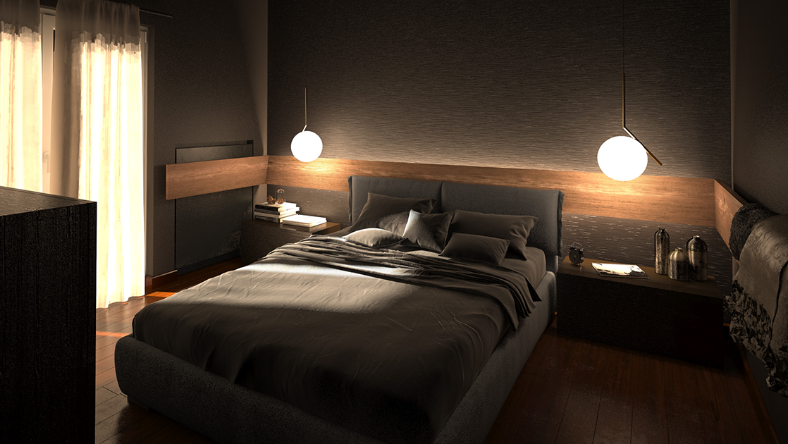 camera da letto bolzan letto e Flos IC Lights